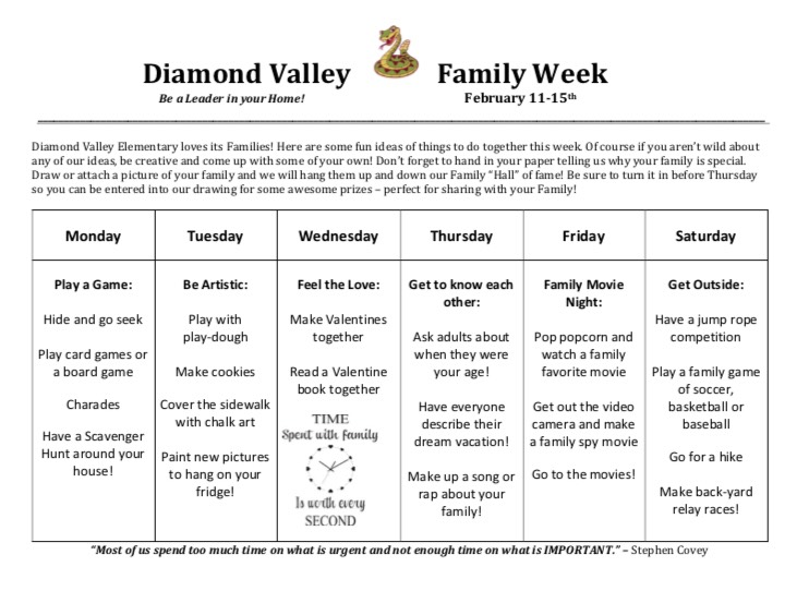 Family Week List of Daily Activities